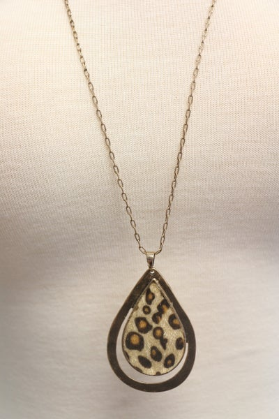 All In A Day Aged Gold Long Necklace With Leopard Pendant