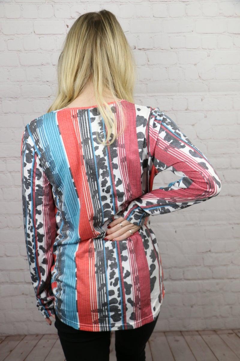 Moovin Along Serape & Cow Print Long Sleeve With Criss Cross Neck- Sizes 4-20