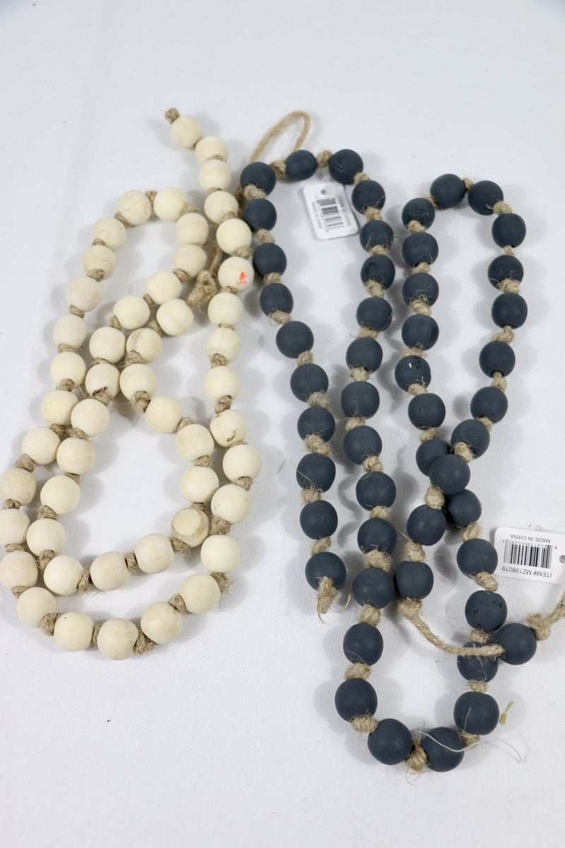 Farmhouse Fun Long Wooden Bead Garland In Multiple Colors