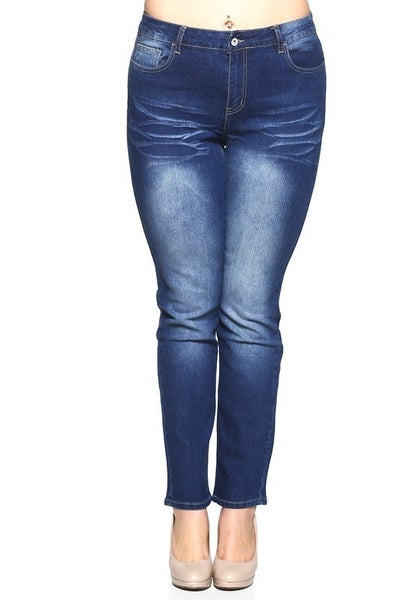 The Elsa Dark Wash Skinny Jean with Embroidered Back Pockets Sizes 14-22