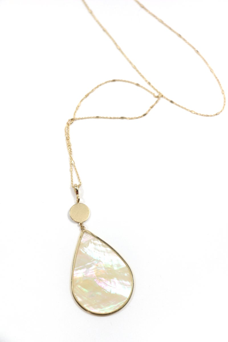 Blessings Long Gold Necklace With Mother Of Pearl Teardrop Pendant