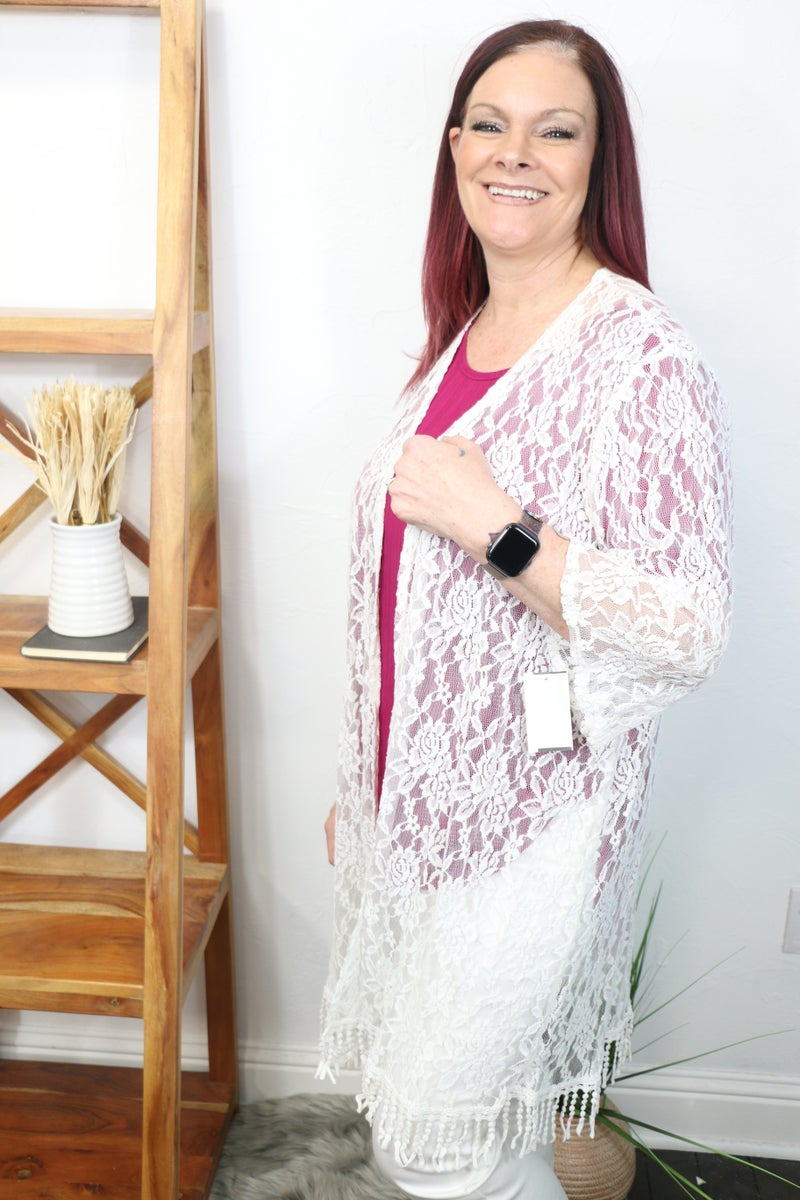 One More Time Lace Kimono in White - Sizes 12-20