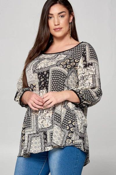 As Always Multi-Print Top in Black & White - Sizes 12-20