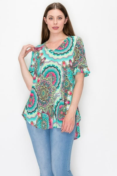 Keep On Going Jade Medallion Print Top With Scoop Hem & Ruffle Sleeve- Sizes 12-20