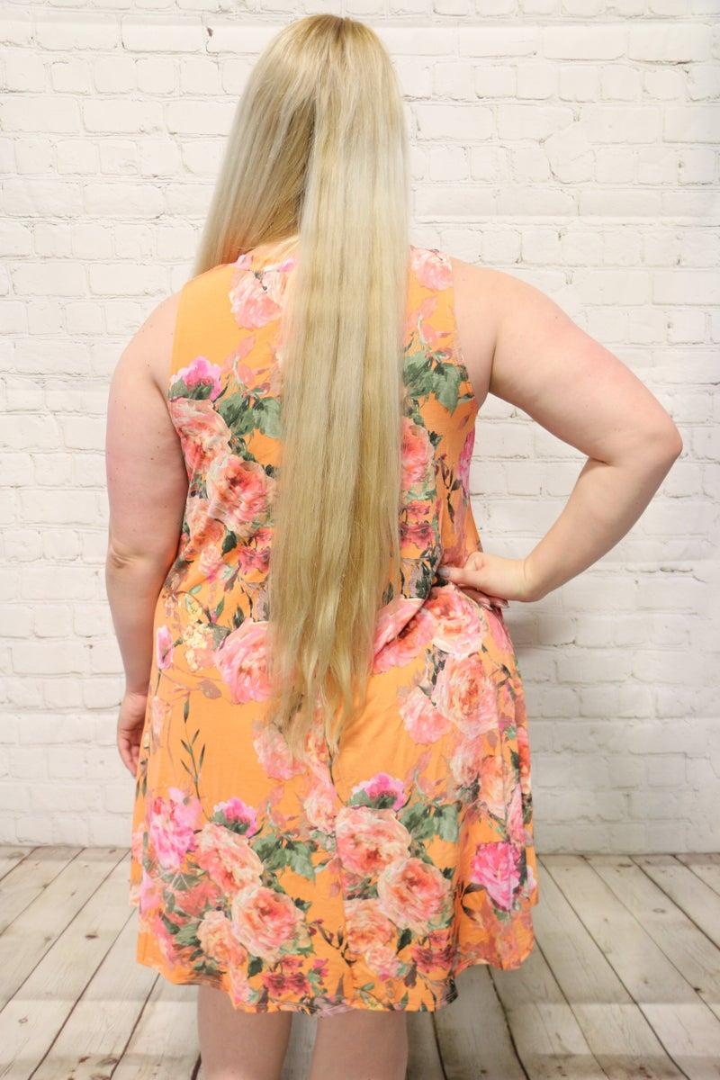 Summer Days Floral Tank Dress In Tangerine- Sizes 12-20