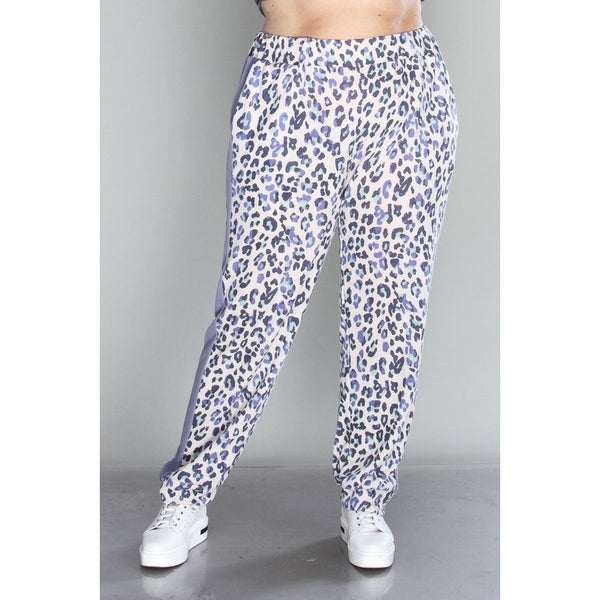 Time to Spare Leopard Joggers with Periwinkle Accent - Sizes 12-20