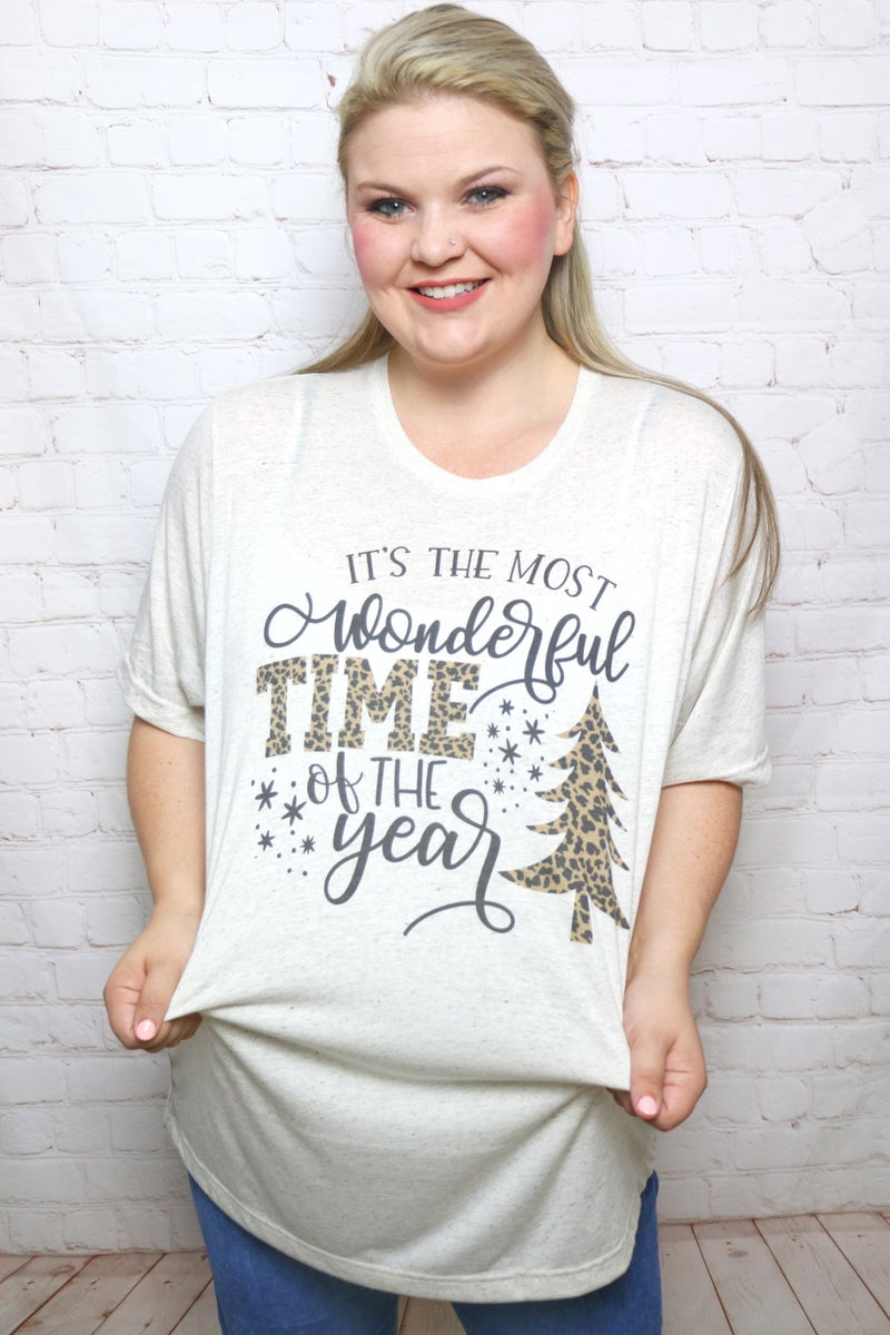It's the Most Wonderful Time Leopard Christmas Tree Shirt ***PREORDER*** - Sizes 4-12