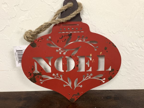NOEL Distressed Red Metal Cutout Ornament With Rope Hanger