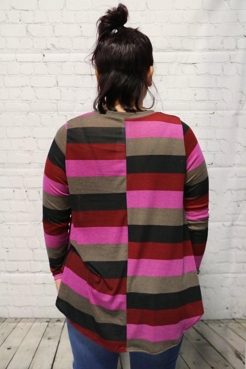 Living In Stripes  V-Neck Long Sleeve Top In Magenta