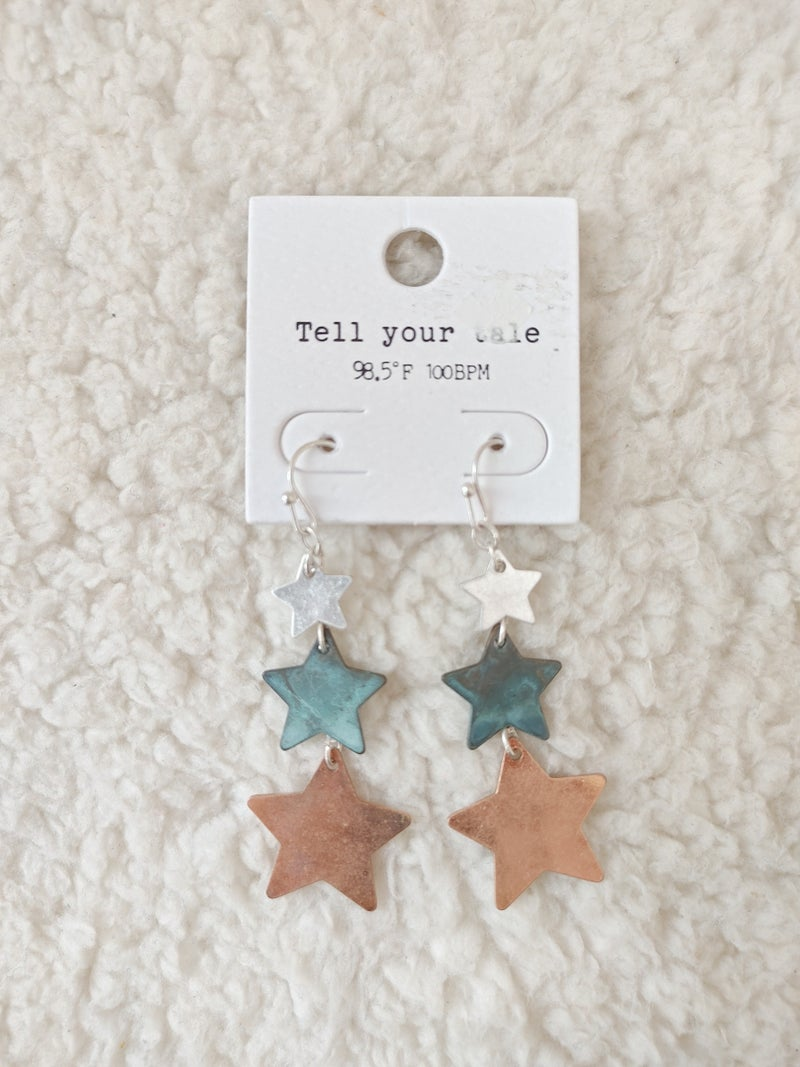 She's A Star Tri-Color Star Drop Earring