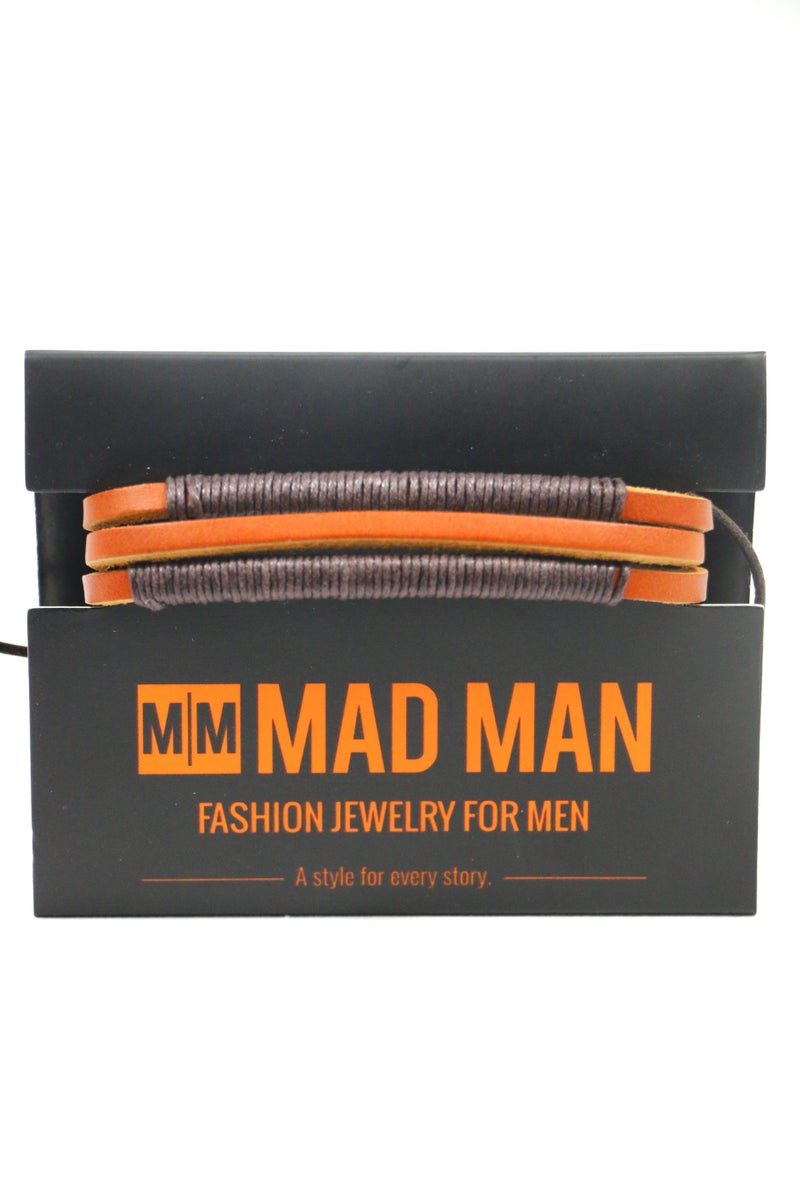 Simple Man Leather Stacked Men's Bracelet