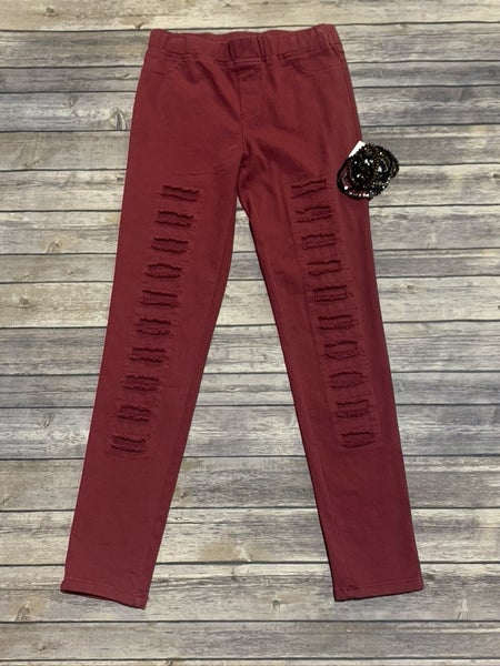 The Elle Distressed High Waisted Jeggings In Maroon  - Sizes 4-12