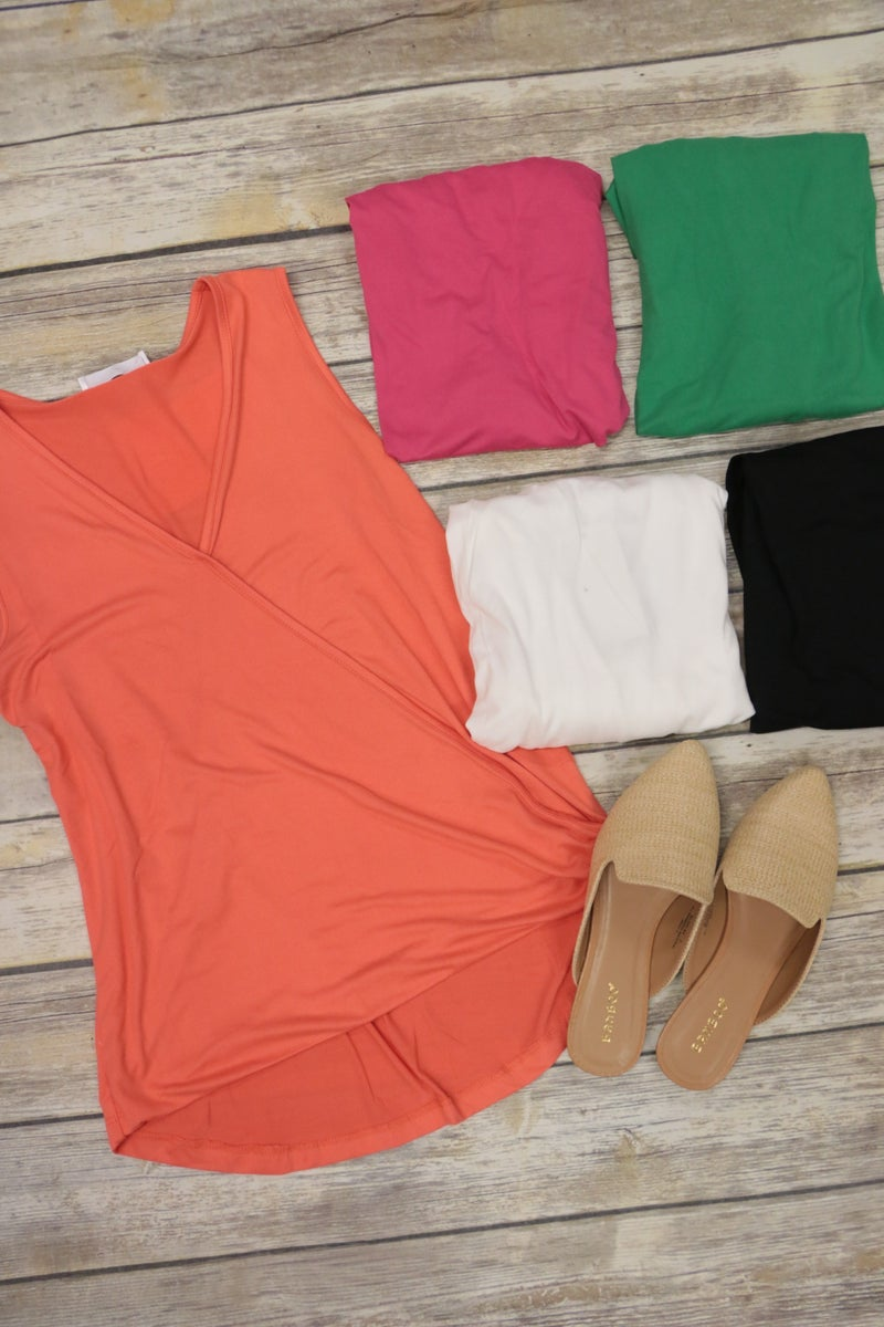 One Day Soon Sleeveless Surplice Top in Multiple Colors - Sizes 4-20 *Final Sale*