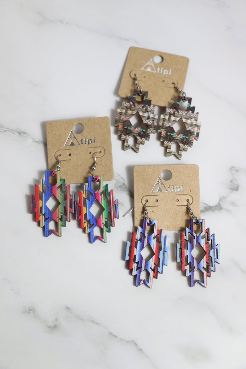 We're Going In Wood Cutout Aztec Earring In Multiple Colors