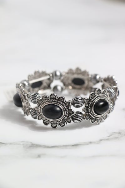 Ready Now Silver And Oval Black Stone Stretch Bracelet