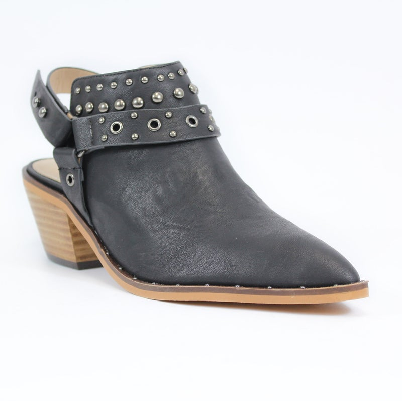 Small Town Black Bootie with Back Strap Sizes 5.5-10