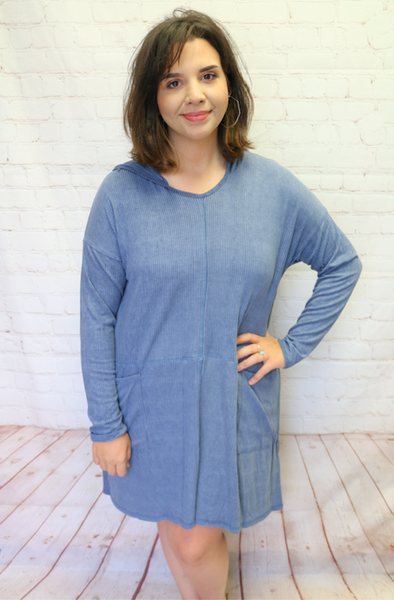 Be Mine Indigo Dress With Front Pockets- Sizes 4-10