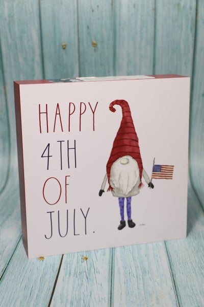 Happy 4th of July Patriotic Gnome Wooden Box Sign