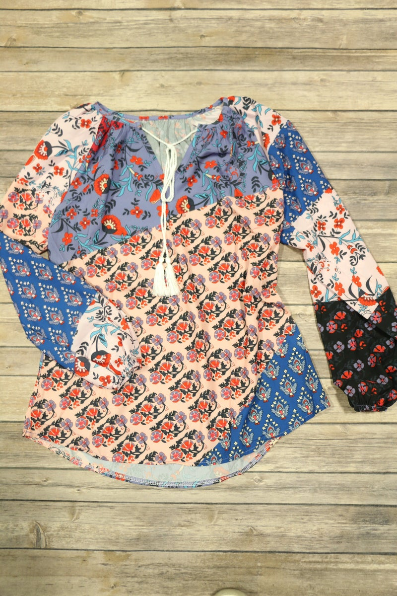On Your Mind Multiprint Floral Peasant Top in Multiple Colors - Sizes 4-18
