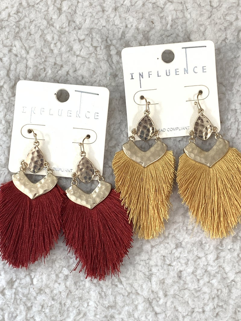 So Perfect Hammered Gold Earring With Fringe Tassel In Multiple Colors