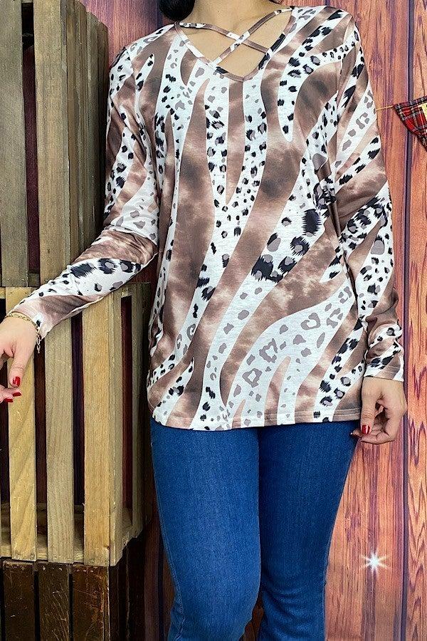 Let's Meet Tie Dye & Cheetah Top - Sizes 4-20