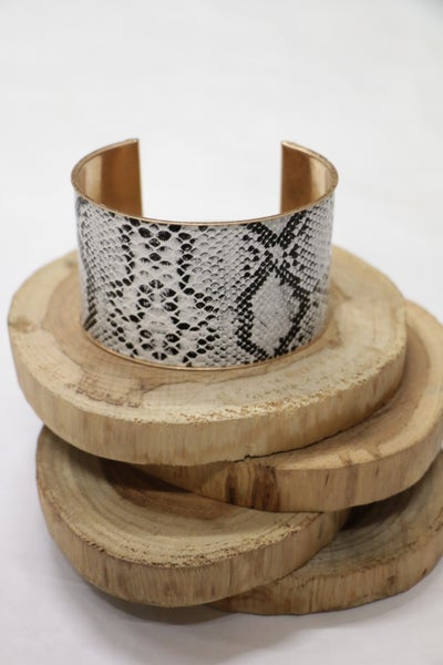 Wild About You White Snake Skin Gold Cuff