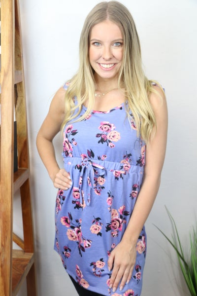 Smell the Roses Orchid Floral Dress with Ruffle Accent Sleeve and Cinched Waist  - Sizes 4-12