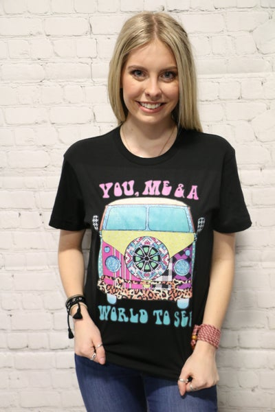 ***PRE-ORDER*** You, Me & A World To See Graphic Tee In Black- Sizes 4-20