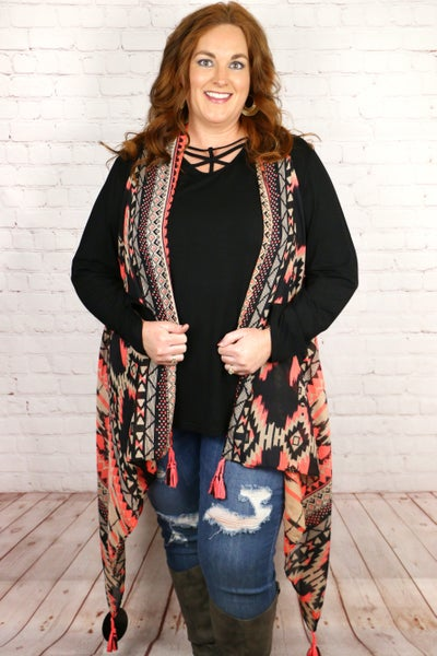 Always the Favorite Black and Coral Aztec Vest with Braided Tassle Hem - One Size