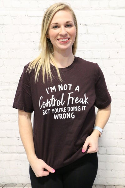***PRE-ORDER*** Im Not A Control Freak Graphic Tee In Plum- Sizes 6-18