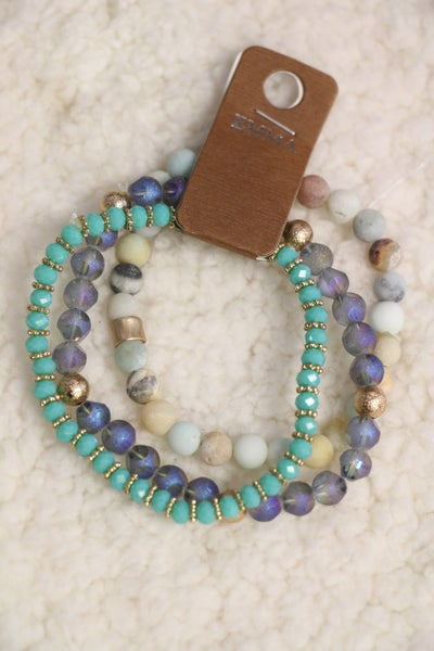 Ocean Dreams 3 Strand Crystal Beaded Bracelet