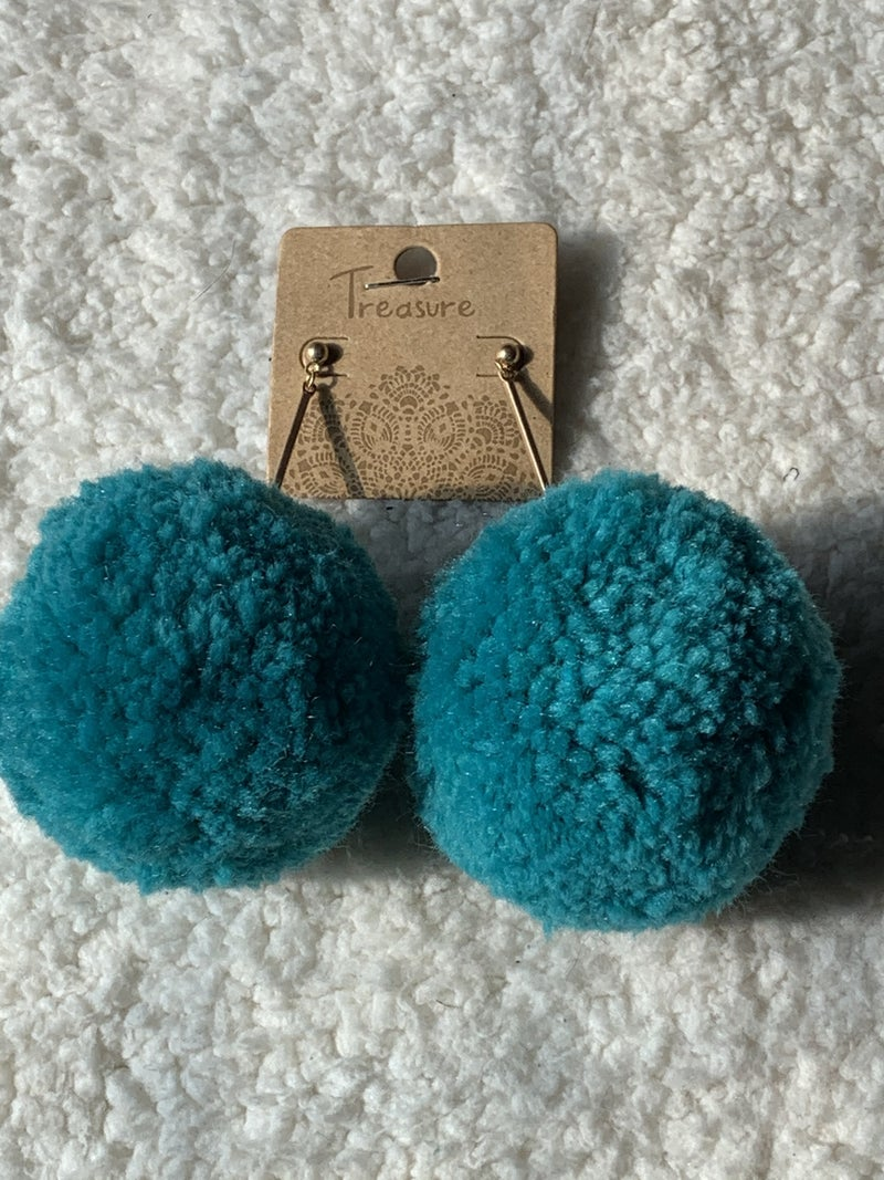 Oh My Extra Large Pom Pom Earring In Turquoise