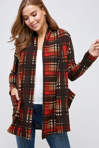 Walk with Me Chocolate Plaid Cardigan - Sizes 4-20