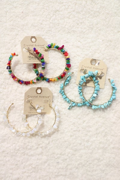 Look At Me Large Hoop Earring With Stone Chips In Multiple Colors