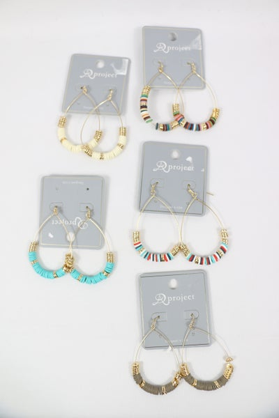 Take Me Back Gold Wire Hoop Earring With Rubber Discs In Multiple Colors