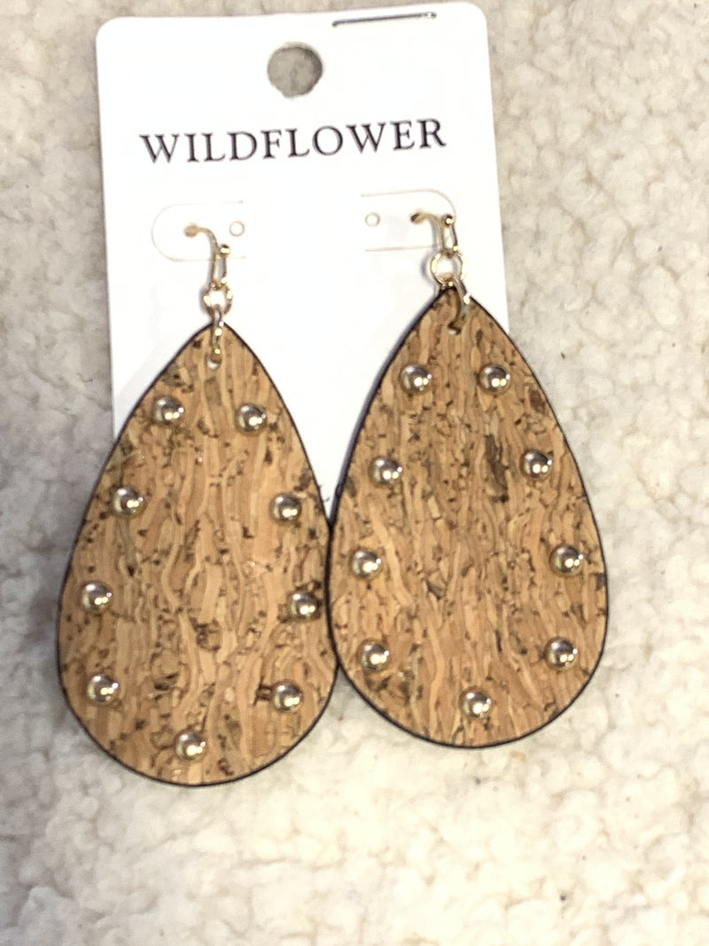 Everyday Tan Cork Teardrop Earring With Gold Studs