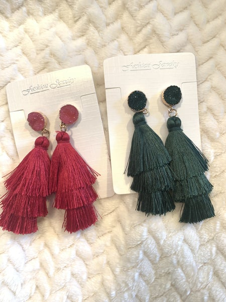 Always There 3 Layer Tassel Earring With Druzy Stud In Multiple Colors