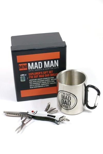 Mad Man Explorer Gift Set - Stainless Steel Mug & Fisherman Pocket Tool