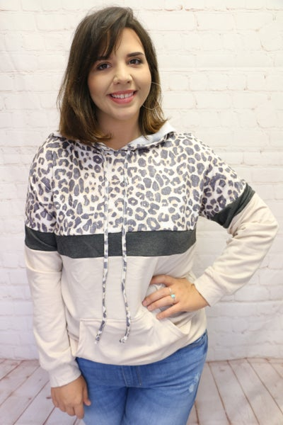 Living My Life Leopard Color Block Hoodie In Multiple Colors- Sizes 4-20