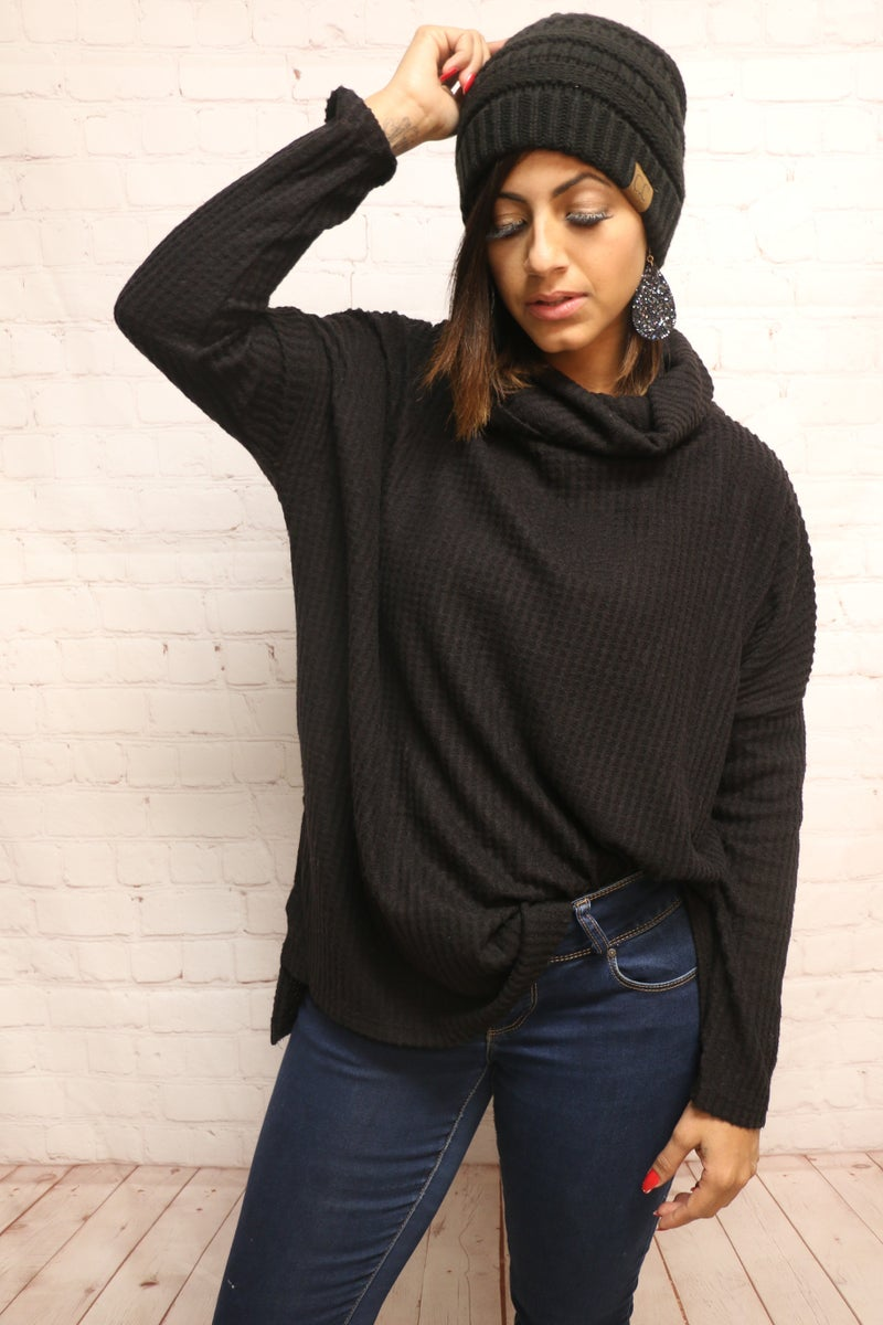 At The Forefront Thermal Waffle Cowl Neck Top in Multiple Colors - Sizes 4-20