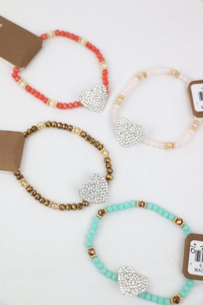 Take The Time Beaded Stretch Bracelet With Crystal Heart In Multiple Colors