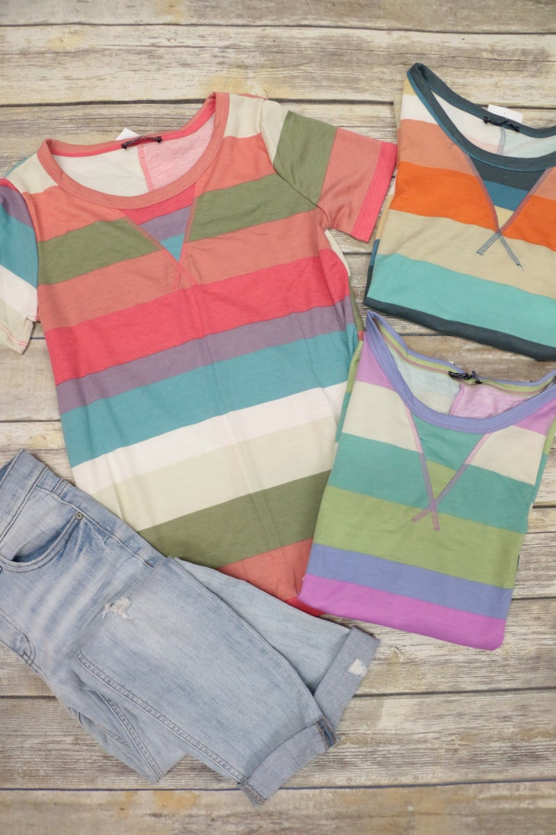 Sometime In The Future Striped Top In Multiple Colors Sizes 4-12