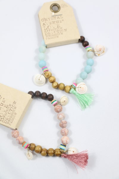 Been There Wood, Stone, Shell And Tassel Stretch Bracelet In Multiple Colors