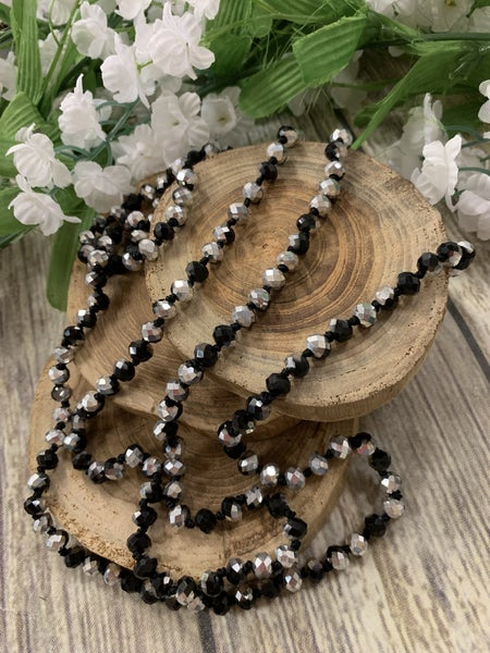 Silver and Black Point Of Perfection Beaded Necklace