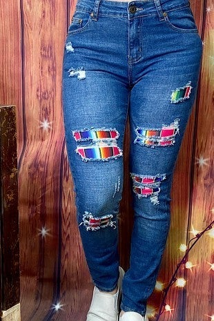 The Stacey Medium Wash Distressed Skinny Jean with Serape Patches - Sizes 4-18