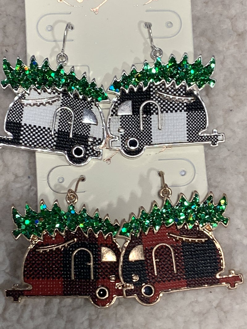 Camping Fun Buffalo Plaid Camper Earring With Christmas Tree In Multiple Colors