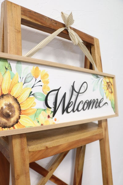 Sunny Side Rectangle Sunflower Wall Sign With Stripe Ribbon Hanger In Multiple Sayings