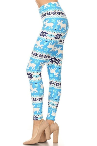 Reindeer & Snowflakes Blue Printed Leggings - Sizes 4-20