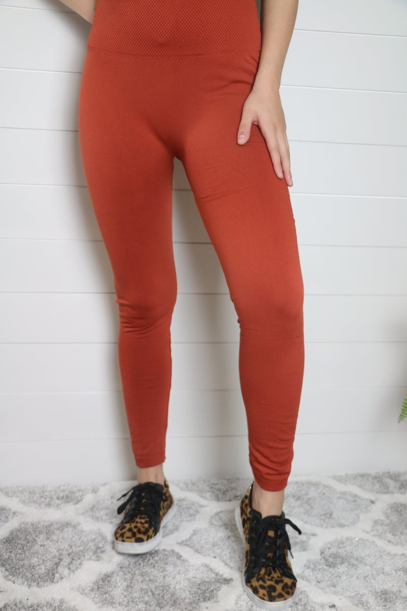 Full Length Fleece Leggings With Tummy Control Waistband - Multiple Colors - Sizes 4-20