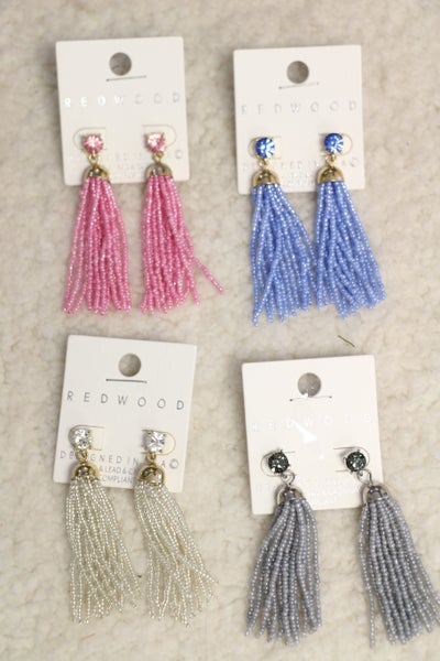 Feeling Fancy Seed Bead Tassel Earrings In Multiple Colors